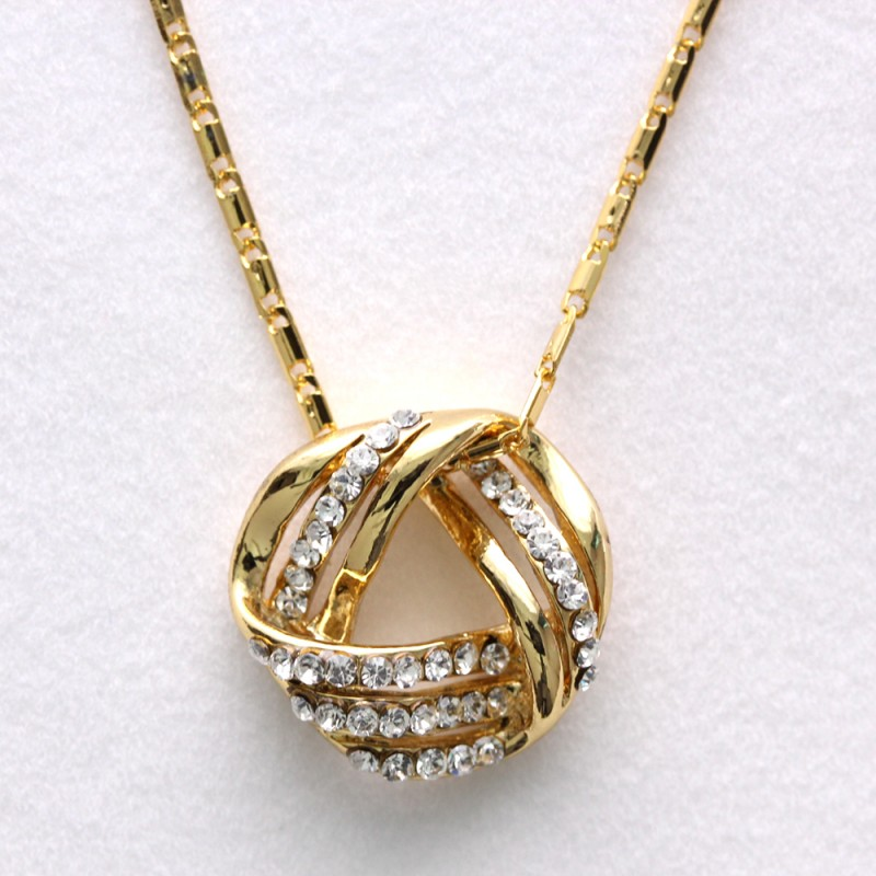 Charm Crystal Round Twist Pendant Gold Chain Necklace